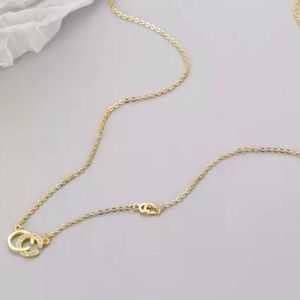 C Initial Sterling CZ Delicate Gold Necklace!